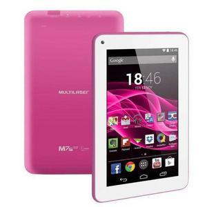 Tablet m7s quad core, rosa, com capa protetora