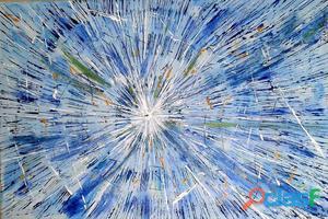 Quadro abstrato azul pintado a mão pela artista rita baron tam.60x90cm