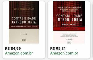 Livros contabilidade introdutória + livro exercício