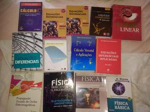 Livros de física e cálculo