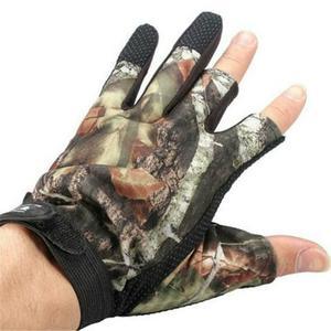Luva de pesca 3 dedos cortados - par camuflada