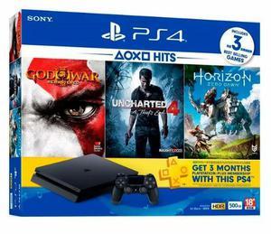Console play 4 slim 500gb com 3 jogos god of war -
