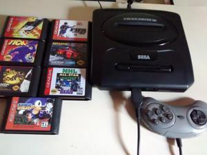 Mega drive 3 original tectoy + 7 fitas jogos!