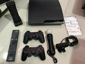 Playstation 3 slim modelo cech-2001b com acessórios e jogos