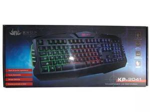 Teclado gamer profissional semi mecanico led usb pc kp-2041