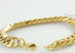 53c7eacfe2f Braceletes de aço inoxidável banhado a ouro 18k