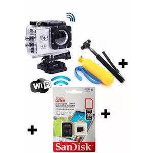 Camera wi fi a prova dagua filma e foto + cartão 32 gb