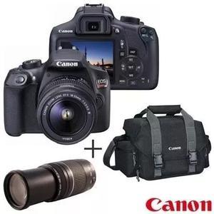 Câmera t6 18mp eos + lente profissional ef75 e 18-55m+