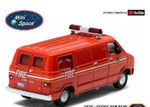 Greenlight 1976 dodge van b100 dpto bombeiro miniatura 164