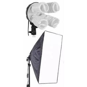 Kit 1 softbox e27 quadruplo tripé 4 lampadas ideal