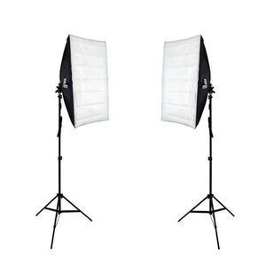 Kit iluminação duplo softbox 50x70cm e tripé 2m para