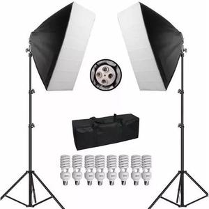 Kit iluminação softbox 50x70 c/8 lampadas 45w bag