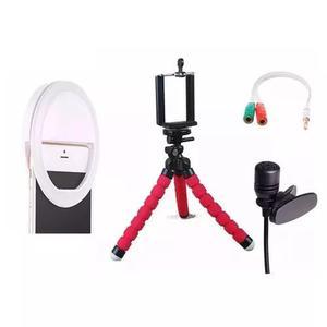 Kit youtuber gravação celular acessorios+ microfone lapela