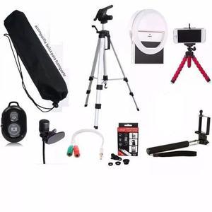 Luz selfie anel led flash celular + kit youtuber tripé