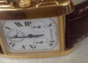 2ef6eba5f70 Relógio marca cartier tank francês ouro rosado