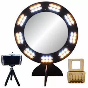 Ring light com espelho led selfie maquiag