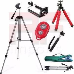 Tripé celular camera 1,30 m + kit self + mini tripé