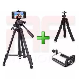 Tripé celular camera 1,80 m + mini tripé flexível +