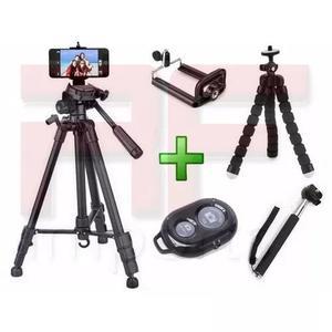 Tripé celular camera 1,80 m + mini tripé flexível + kit