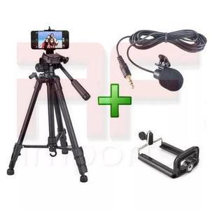 Tripé celular câmera 1,80 m + suporte cel + microfone