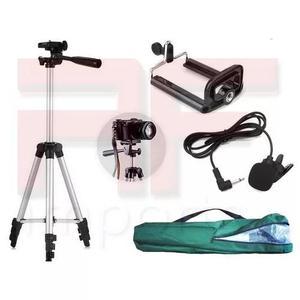 Tripé câmera celular 1,80 m + microfone lapela + suporte