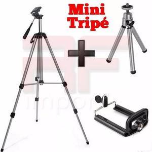 Tripé câmera profissional 1,30 mini tripé + suporte