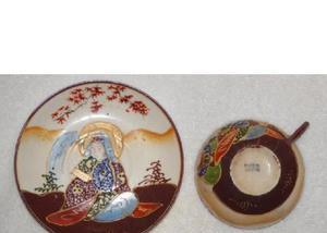Xícara & pires de chá porcelana casca de ovo japonesa
