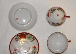 Xícara2 & pires de chá porcelana casca de ovo japonesa