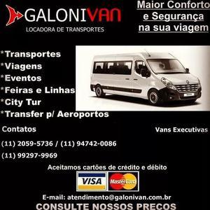 Aluguel de vans para todo o brasil galoni van de 15 e 18 lug