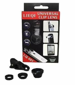 Kit lente universal 3x1 fisheye macro + wide iphone, galaxy