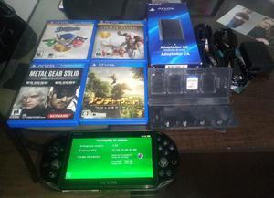 Ps vita 8 gb + 5 jogos mídia fisica e emuladores
