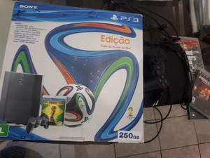 Playstation 3 com controle + jogos da fifa - 250gb