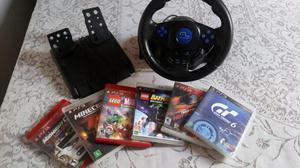 Volante, pedal e 6 jogos para ps3