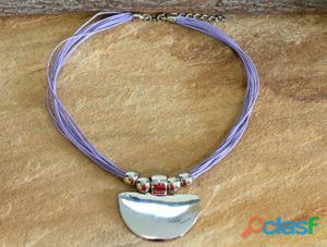 Colar lilas prateado roxo bijuterias acessorios femininos
