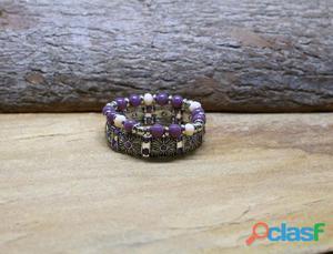 Mix de pulseiras lilas roxa de pedra kit conjunto bijuterias