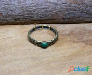 Pulseira verde boho chic ouro velho bijuterias acessorios