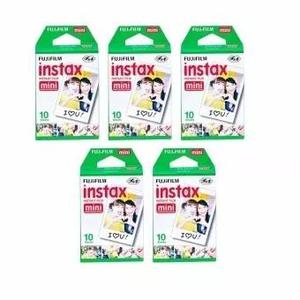 Combo 5 Kits Filme Instax Mini 100 Fotos Instantaneas