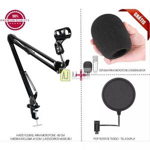 Kit pedestal articulado c/ 80 cm p/ microfone+pop filter 6