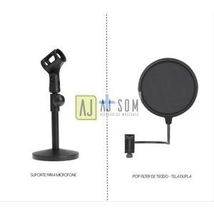 Kit-pedestal base de ferro+ pop filter 6'' behringer c1,akg