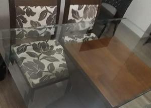 Mesa madeira jantar sala + 4 cadeiras estofadas