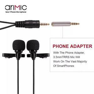 Microfone arimic duplo cabo longo 5 metros lapela gravação