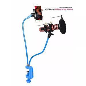 Pedestal articulado,haste flexível p/microfone+suporte cel