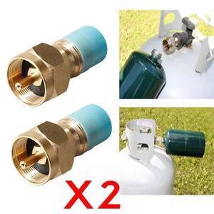 2x adaptador refill propano lp gás 1 lb cilindro acoplador