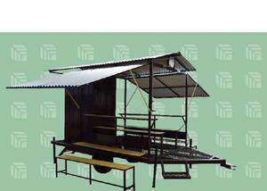 Banheiro agrícola móvel com área de vivência para 16
