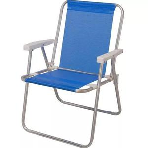 Cadeira alumínio alta dobrável 90 kg sannet azul mor