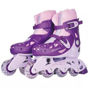 Kit patins in-line ajustável 30 ao 33 fenix ad01r - roxa