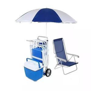 Kit praia 2 guarda-sol + 2cadeiras + carrinho s