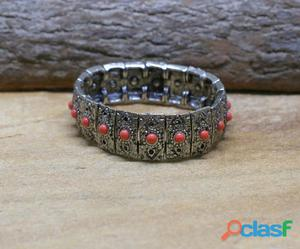 Bracelete salmon pulseira prateada bijuterias pulseirismo