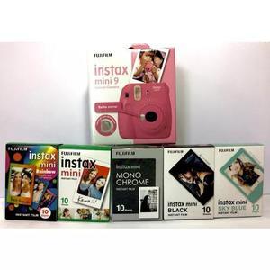 Kit câmera instax mini 9 rosa flamingo + 5 pacotes de filme