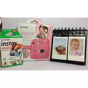 Kit câmera instax mini 9 rosa flamingo + filme + porta